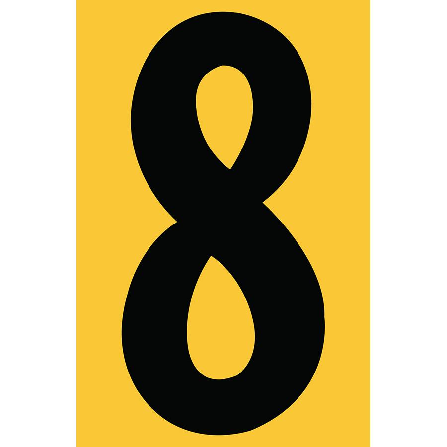 "4"" Black on Yellow Engineer Grade Reflective ""8"""