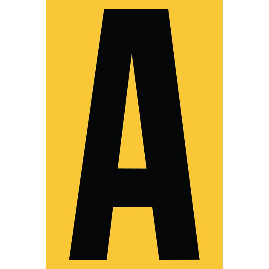 "4"" Black on Yellow Engineer Grade Reflective ""A"""