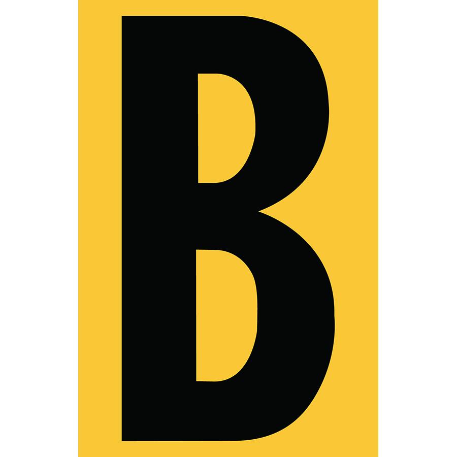 "4"" Black on Yellow Engineer Grade Reflective ""B"""