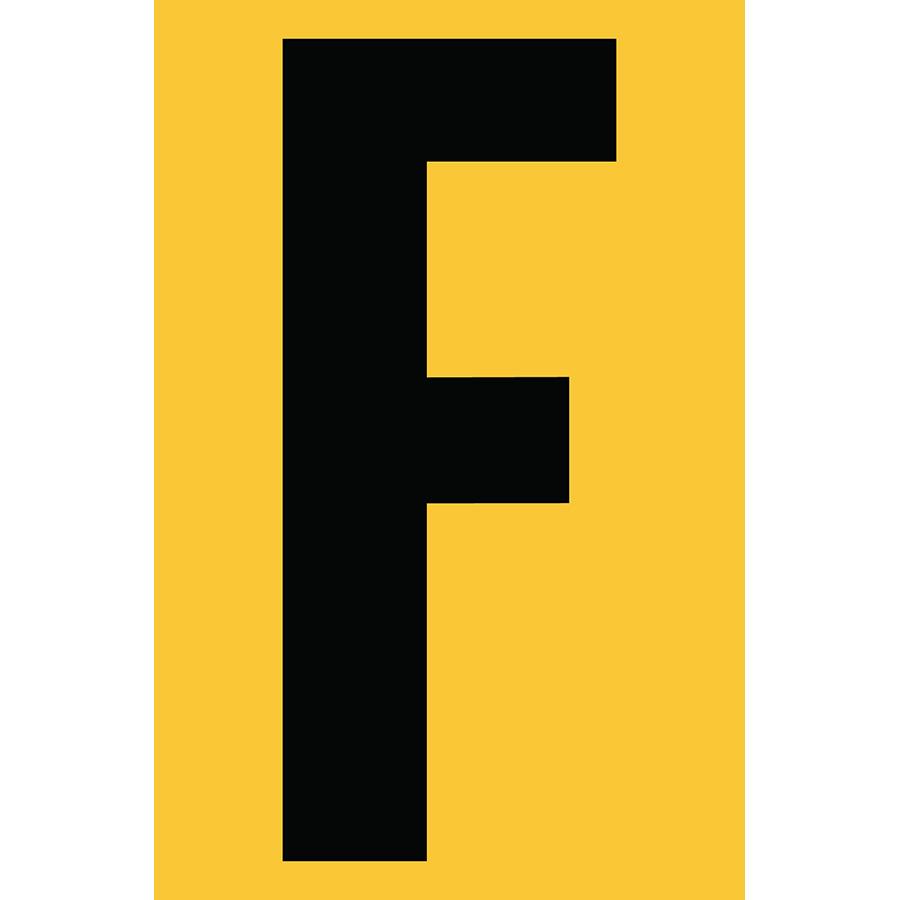 "4"" Black on Yellow Engineer Grade Reflective ""F"""