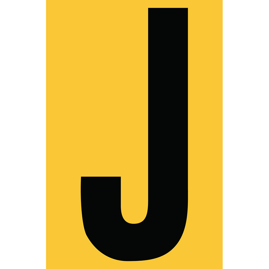 "4"" Black on Yellow Engineer Grade Reflective ""J"""