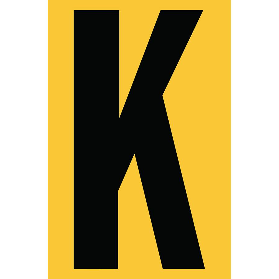 "4"" Black on Yellow Engineer Grade Reflective ""K"""