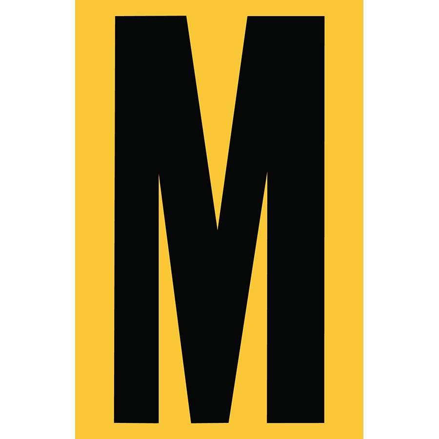 "4"" Black on Yellow Engineer Grade Reflective ""M"""