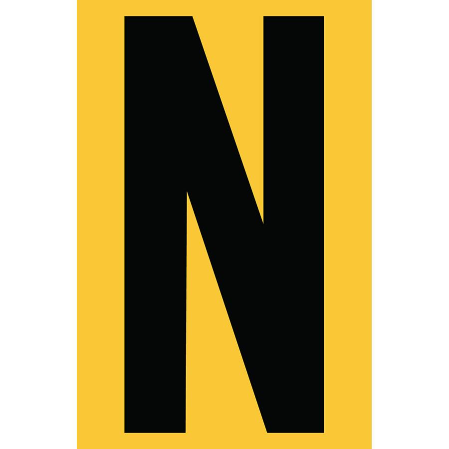 "4"" Black on Yellow Engineer Grade Reflective ""N"""