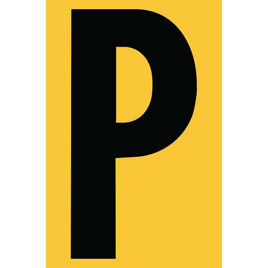 "4"" Black on Yellow Engineer Grade Reflective ""P"""