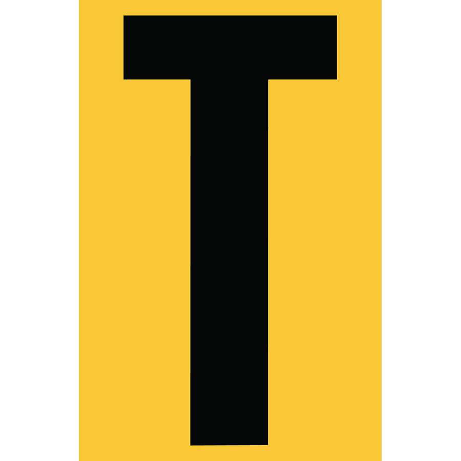 "4"" Black on Yellow Engineer Grade Reflective ""T"""