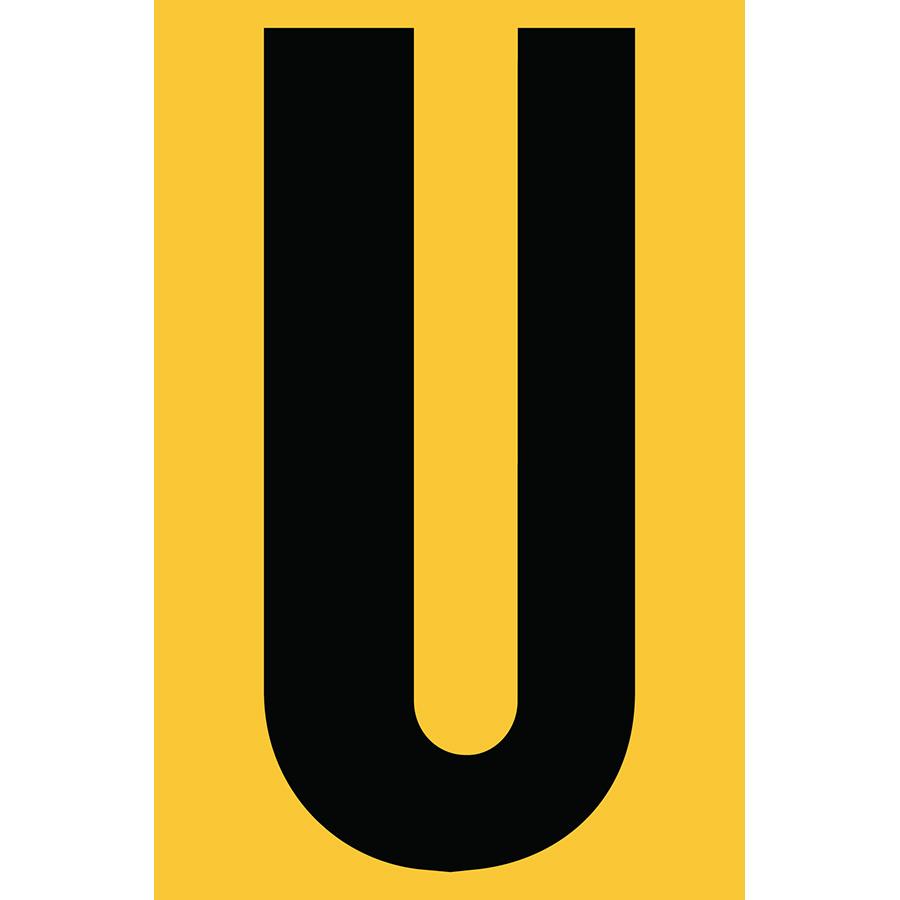 "4"" Black on Yellow Engineer Grade Reflective ""U"""