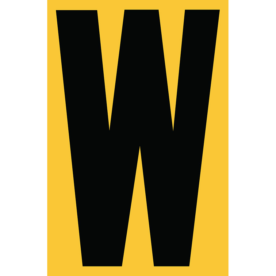 "4"" Black on Yellow Engineer Grade Reflective ""W"""