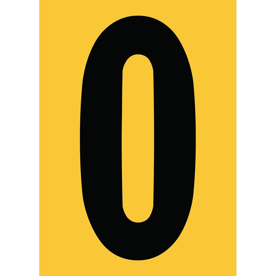 "6"" Black on Yellow Engineer Grade Reflective ""0"""