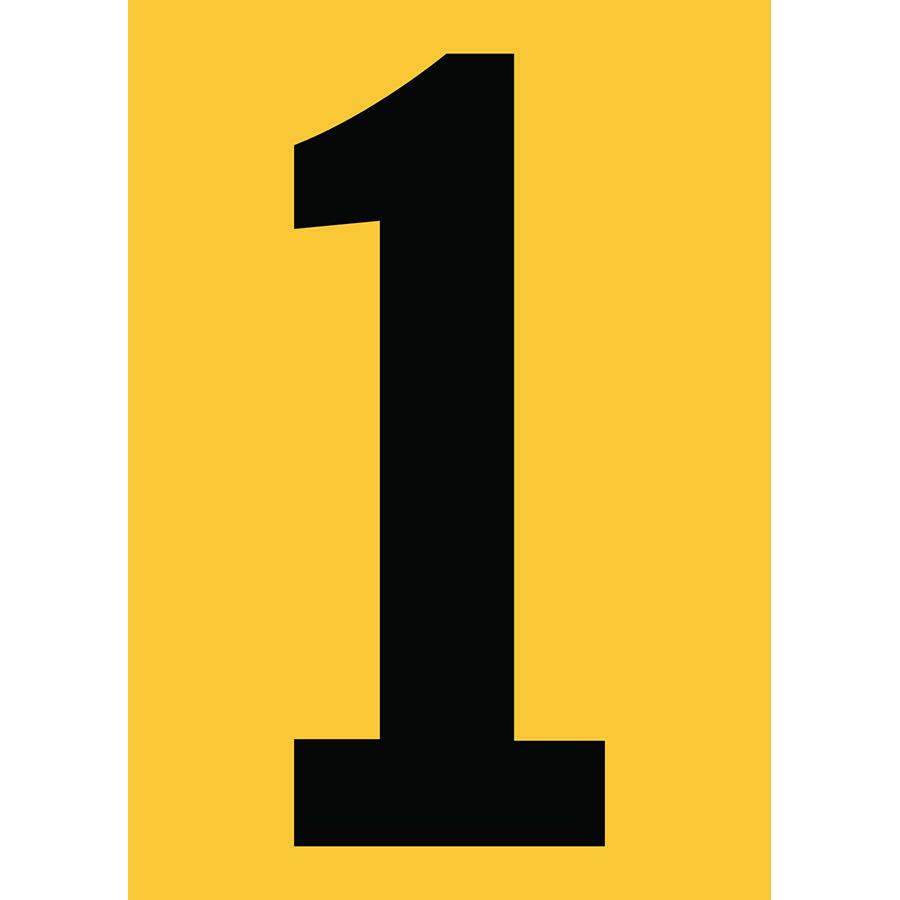 "6"" Black on Yellow Engineer Grade Reflective ""1"""