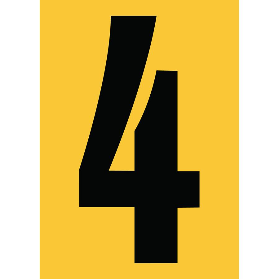"6"" Black on Yellow Engineer Grade Reflective ""4"""