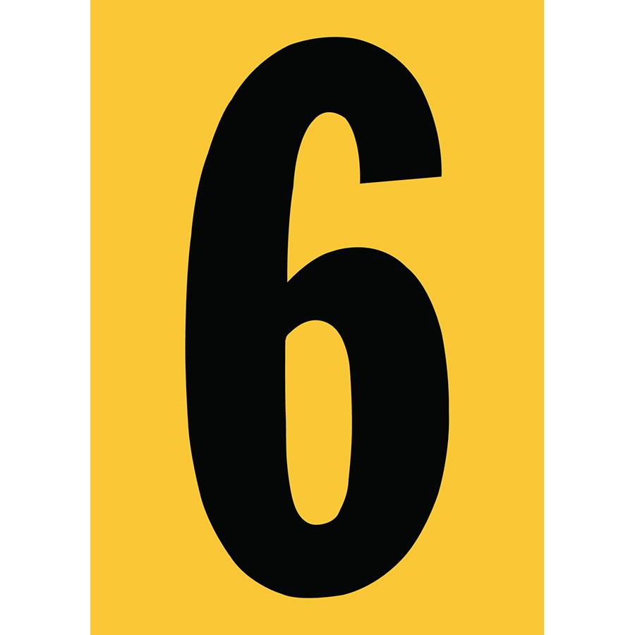 "6"" Black on Yellow Engineer Grade Reflective ""6"""