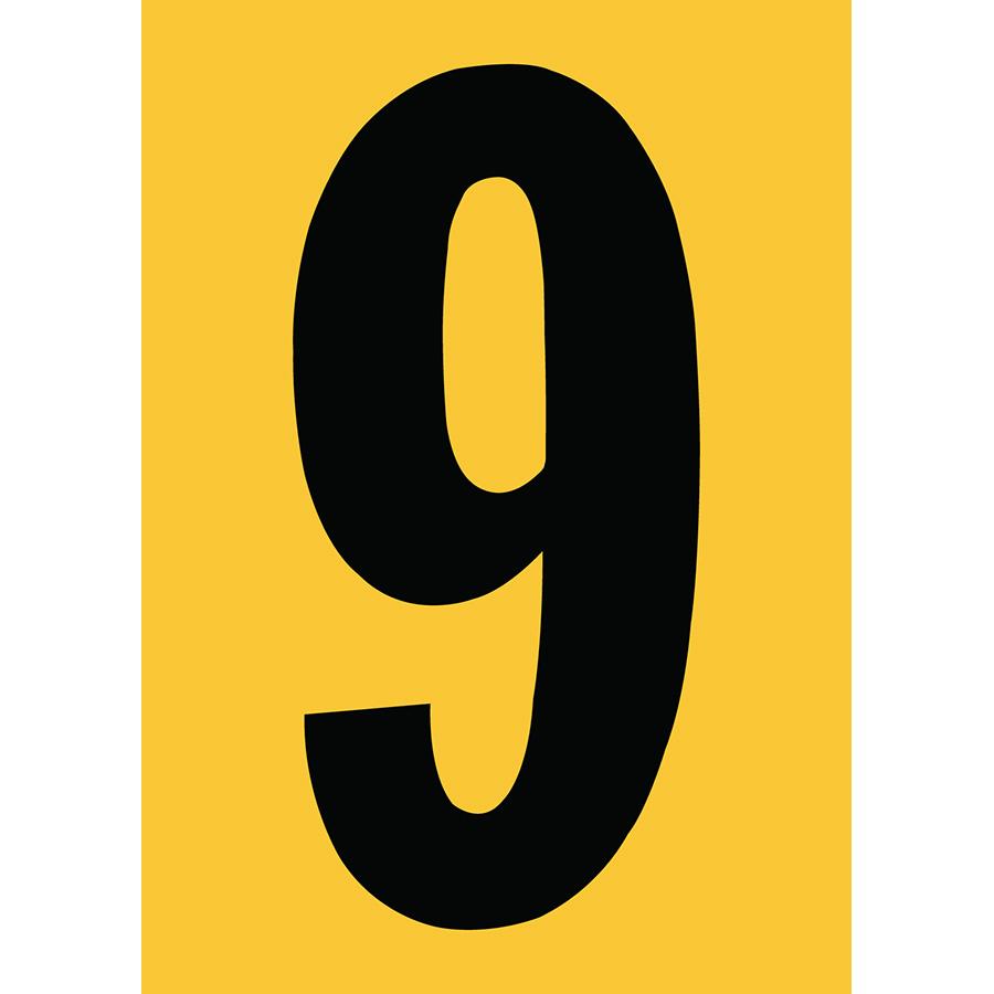 "6"" Black on Yellow Engineer Grade Reflective ""9"""