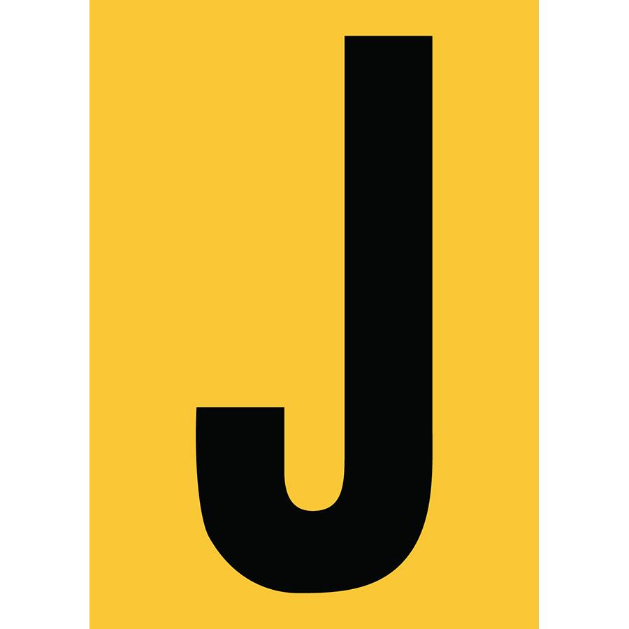 "6"" Black on Yellow Engineer Grade Reflective ""J"""