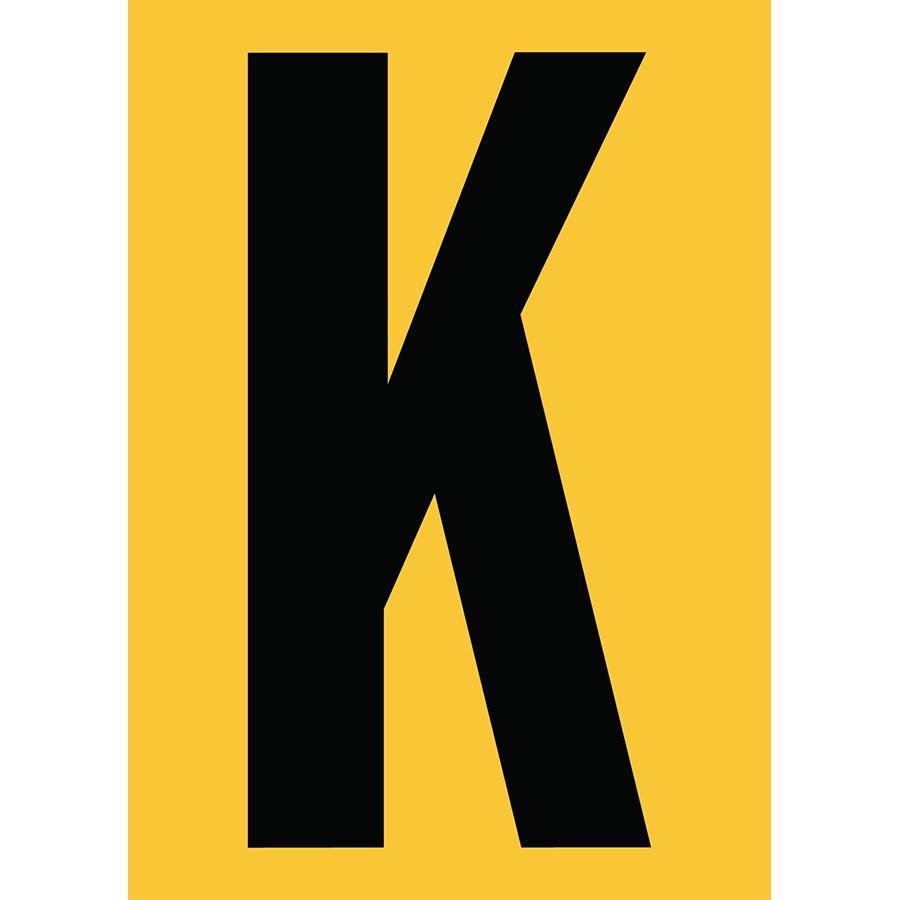 "6"" Black on Yellow Engineer Grade Reflective ""K"""