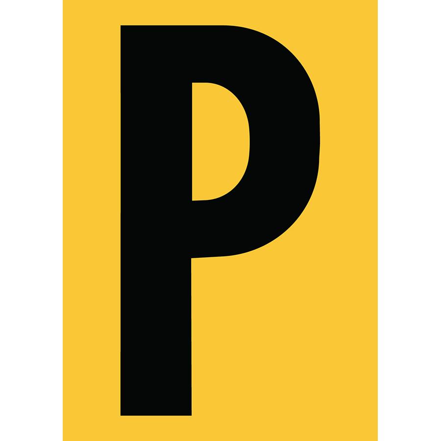 "6"" Black on Yellow Engineer Grade Reflective ""P"""