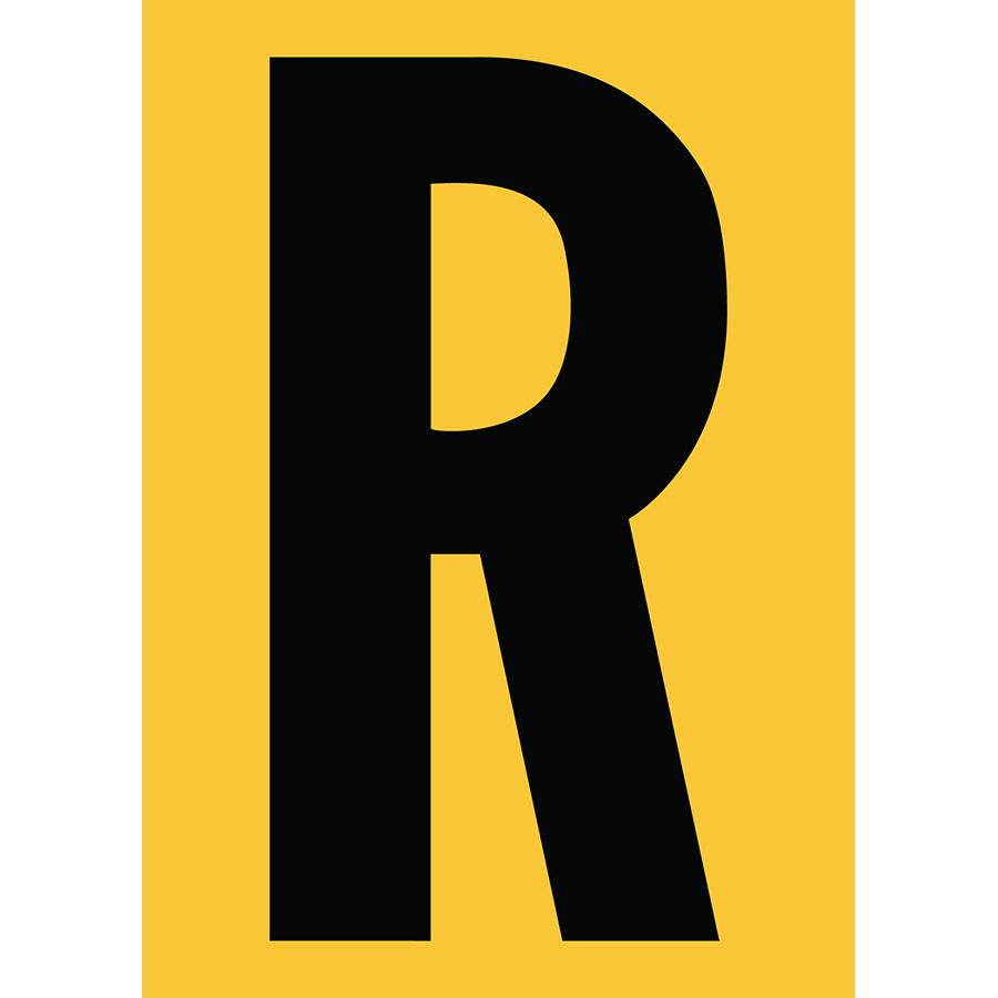 "6"" Black on Yellow Engineer Grade Reflective ""R"""