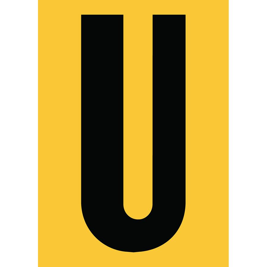 "6"" Black on Yellow Engineer Grade Reflective ""U"""