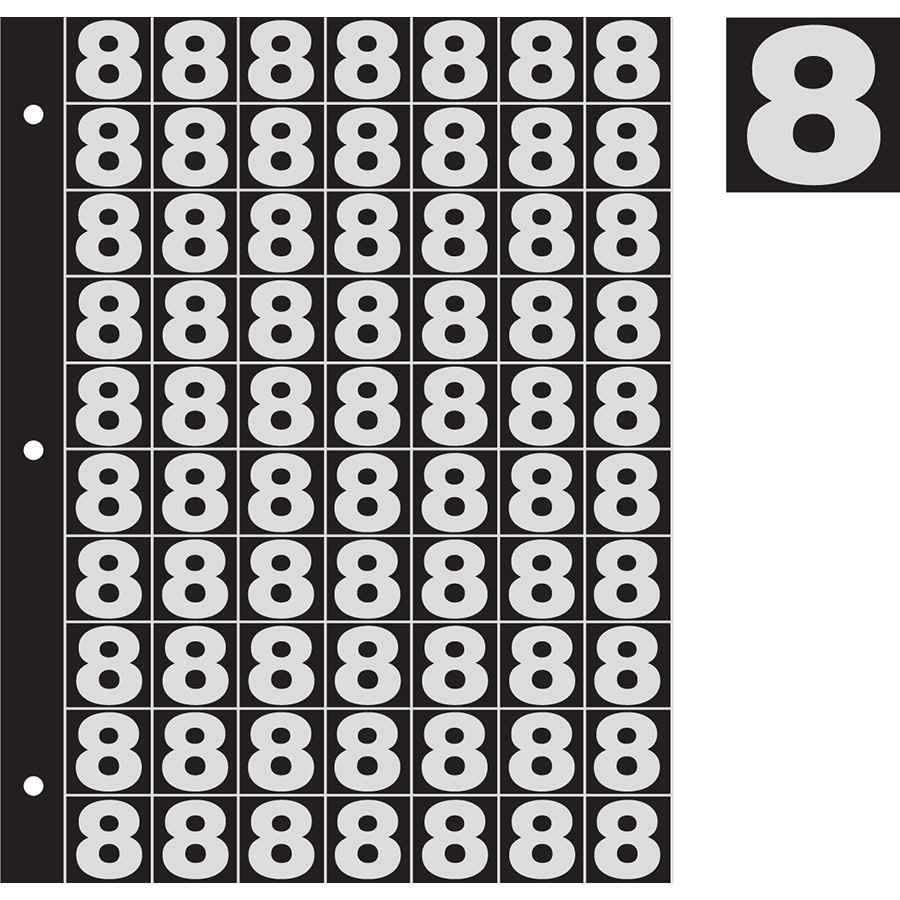 "1"" Silver on Black Engineer Grade Reflective ""8"""