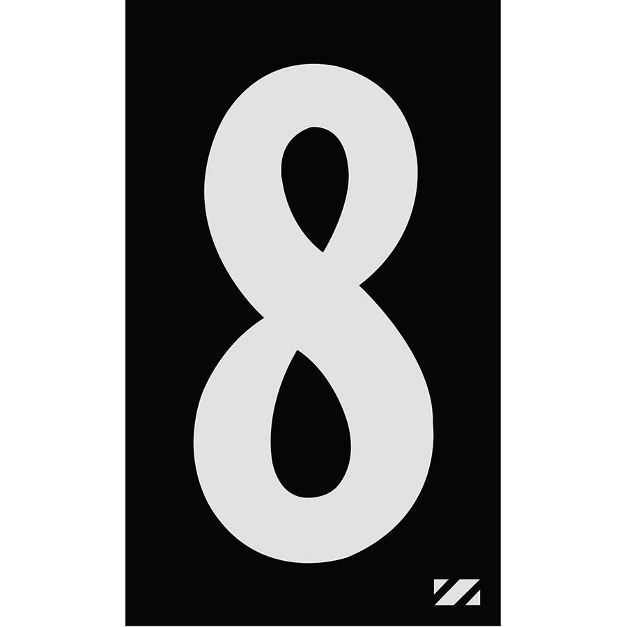 "2"" Silver on Black Engineer Grade Reflective ""8"""