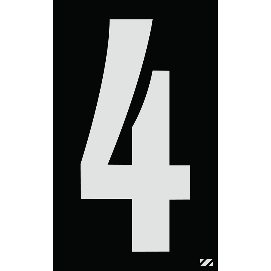 "2.5"" Silver on Black Engineer Grade Reflective ""4"""