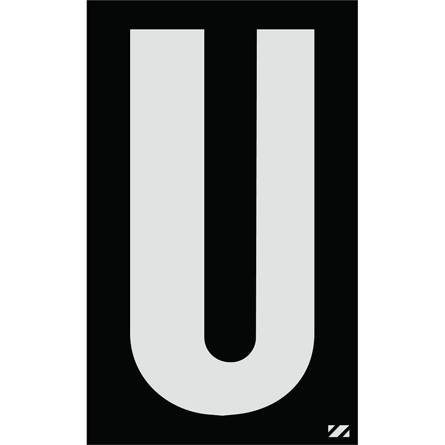 "2.5"" Silver on Black Engineer Grade Reflective ""U"""
