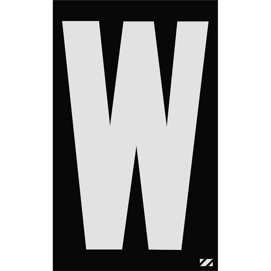 "2.5"" Silver on Black Engineer Grade Reflective ""W"""