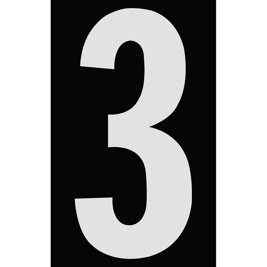 "3"" Silver on Black Engineer Grade Reflective ""3"""