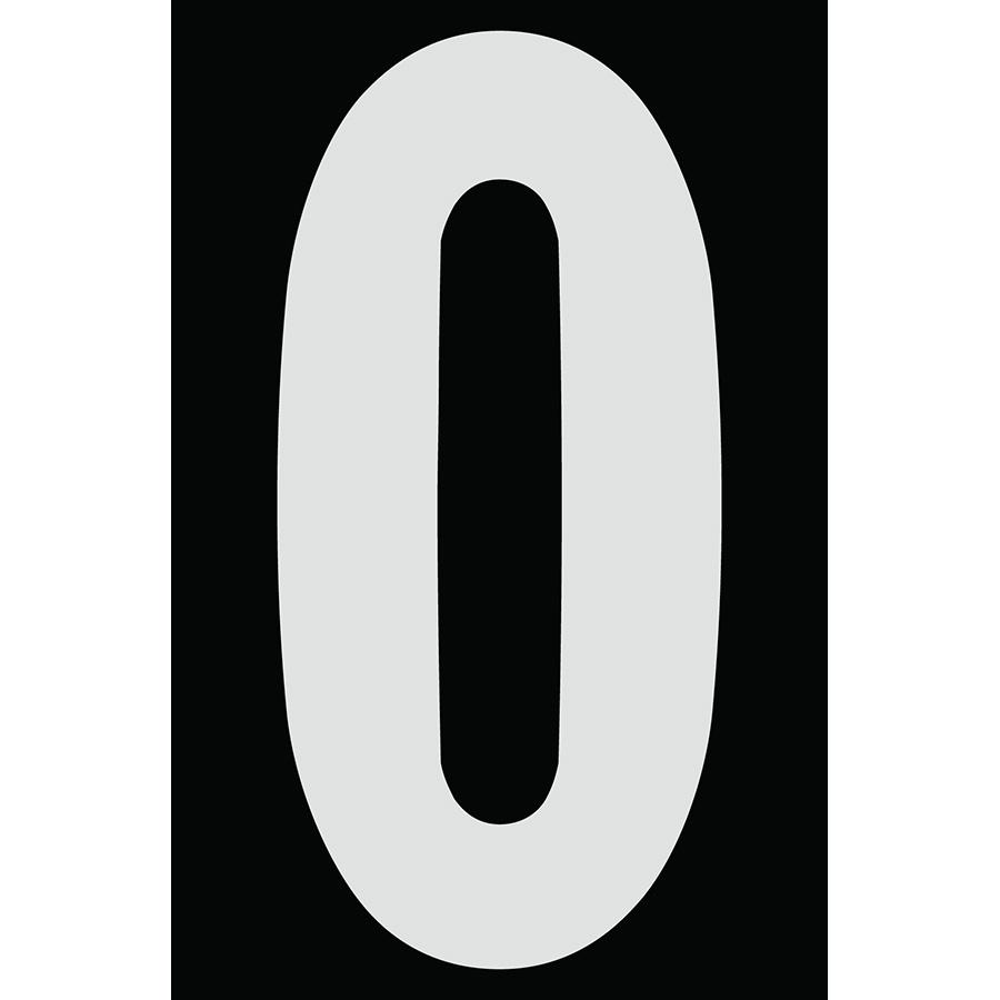 "4"" Silver on Black Engineer Grade Reflective ""0"""