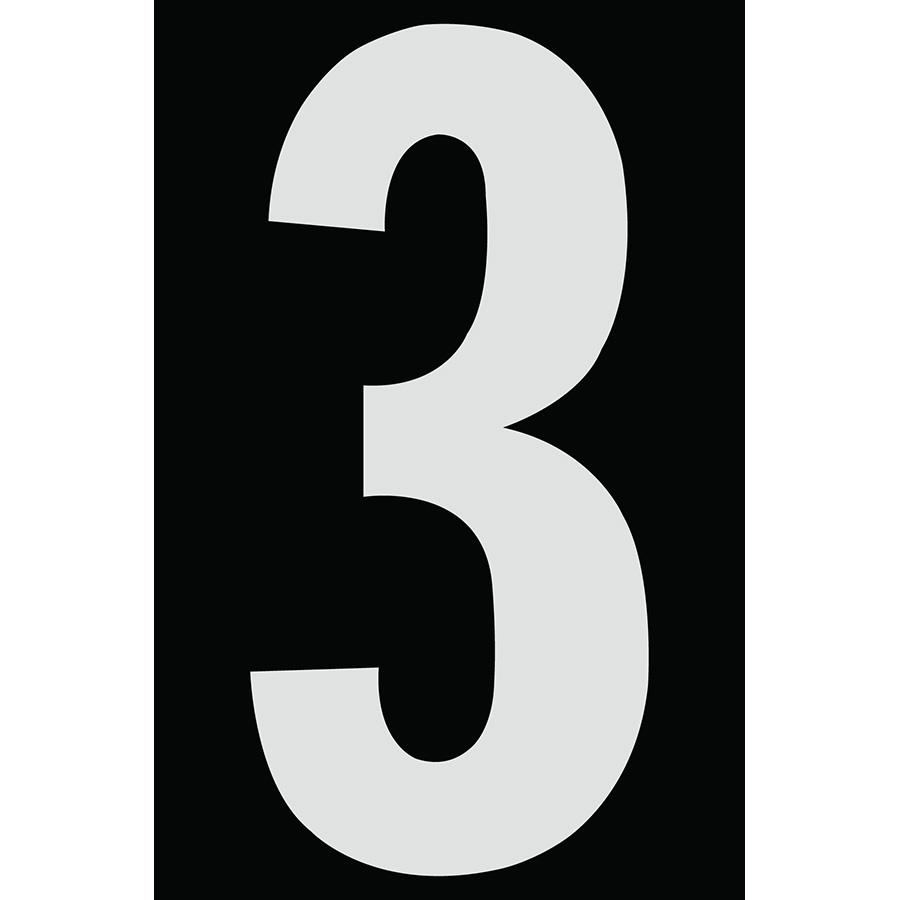 "4"" Silver on Black Engineer Grade Reflective ""3"""