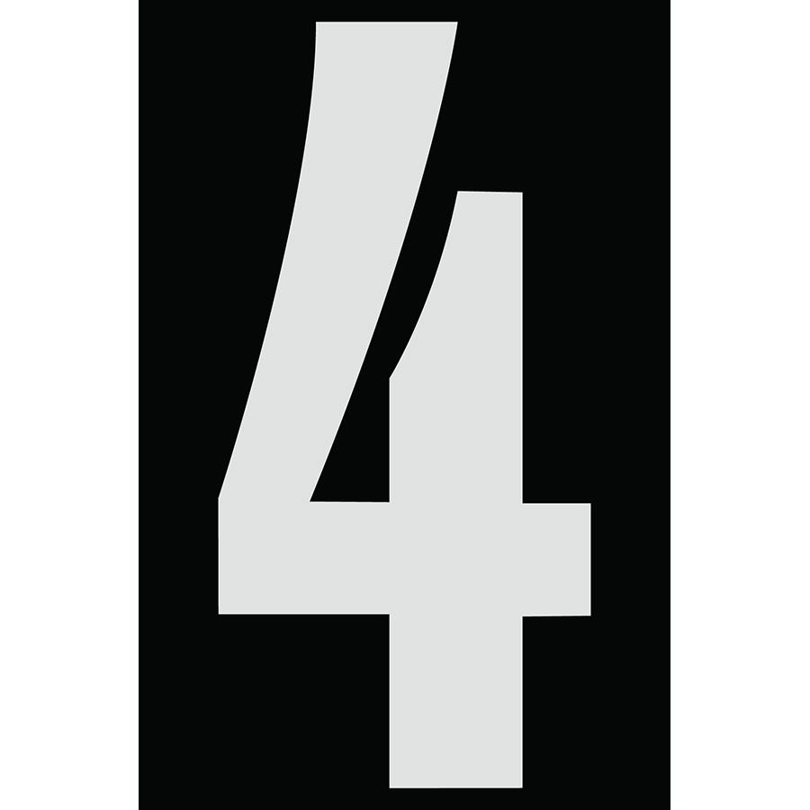 "4"" Silver on Black Engineer Grade Reflective ""4"""
