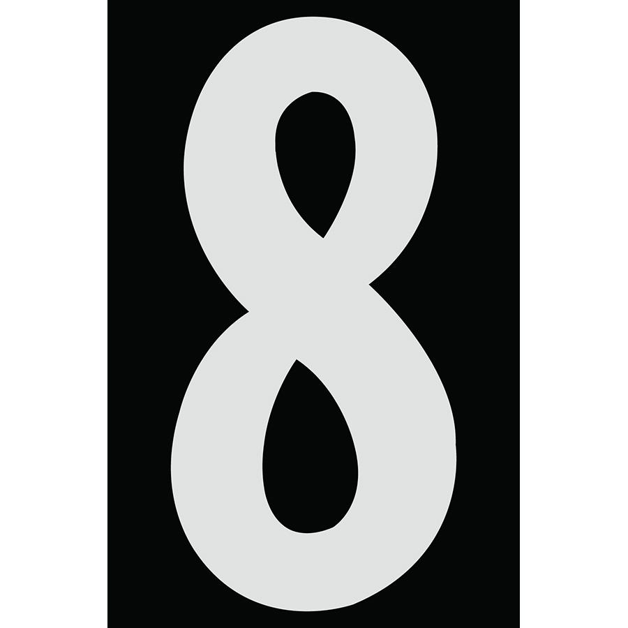 "4"" Silver on Black Engineer Grade Reflective ""8"""