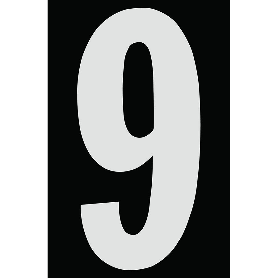 "4"" Silver on Black Engineer Grade Reflective ""9"""