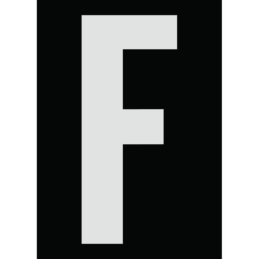 "6"" Silver on Black Engineer Grade Reflective ""F"""