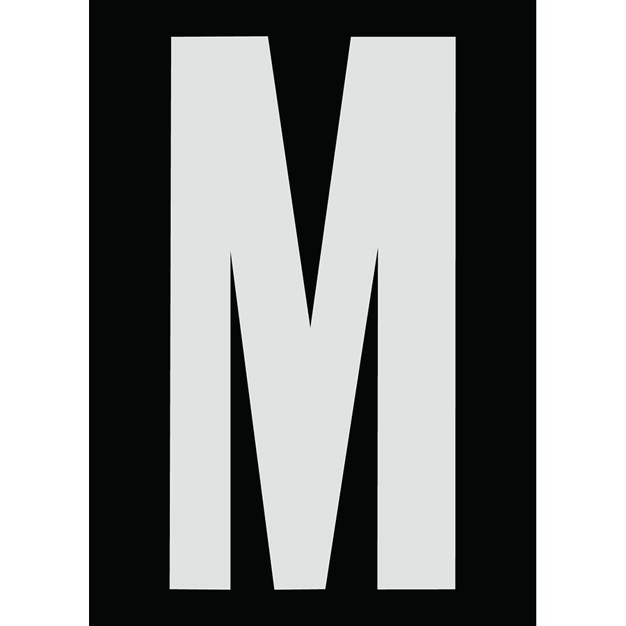 "6"" Silver on Black Engineer Grade Reflective ""M"""