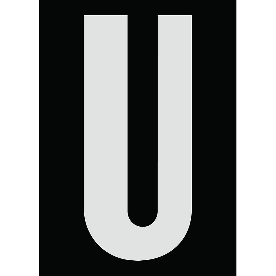 "6"" Silver on Black Engineer Grade Reflective ""U"""