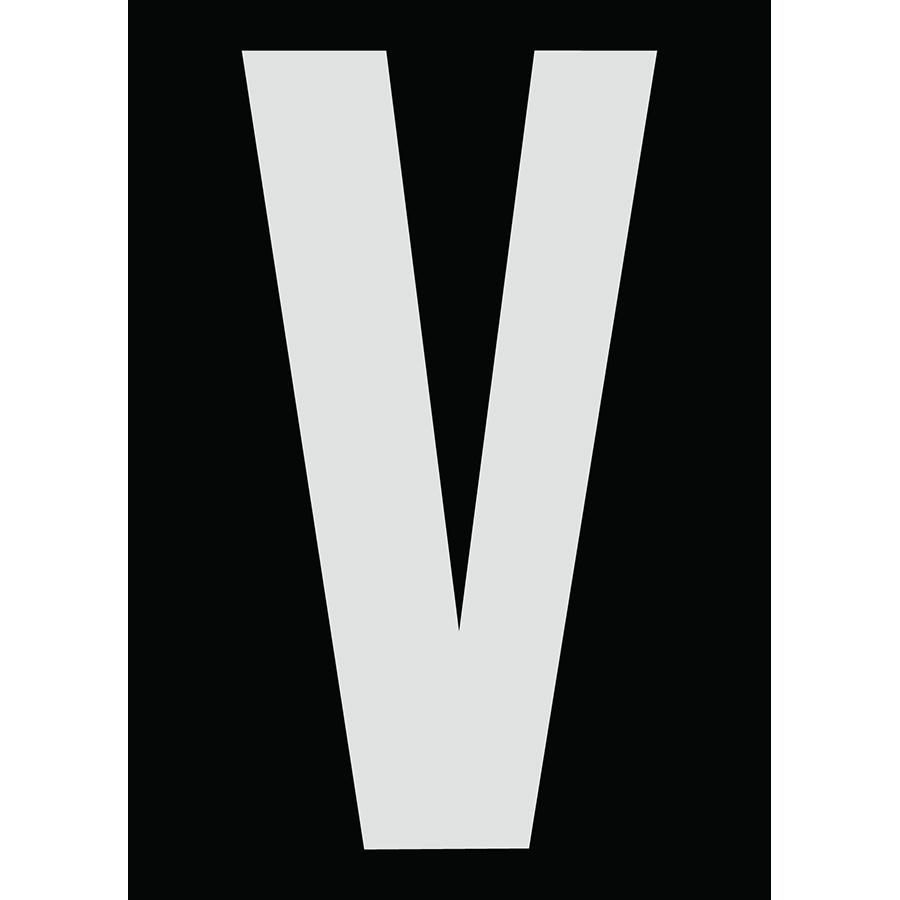 "6"" Silver on Black Engineer Grade Reflective ""V"""