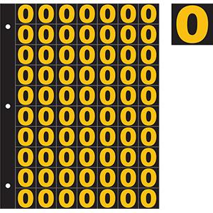 "1"" Yellow on Black Engineer Grade Reflective 0-9"