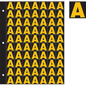 """1"""" Yellow on Black Engineer Grade Reflective A-Z"""