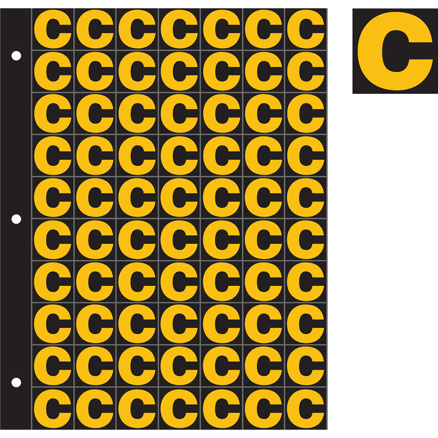 "1"" Yellow on Black Engineer Grade Reflective ""C"""