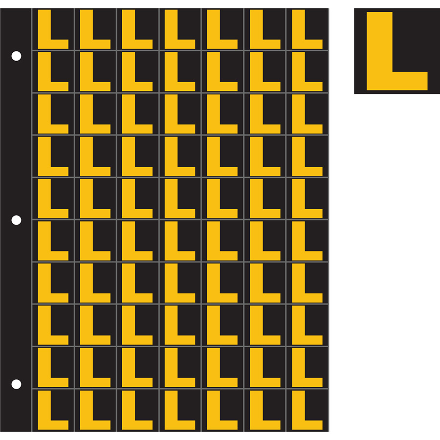 "1"" Yellow on Black Engineer Grade Reflective ""L"""