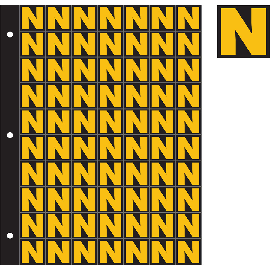 "1"" Yellow on Black Engineer Grade Reflective ""N"""