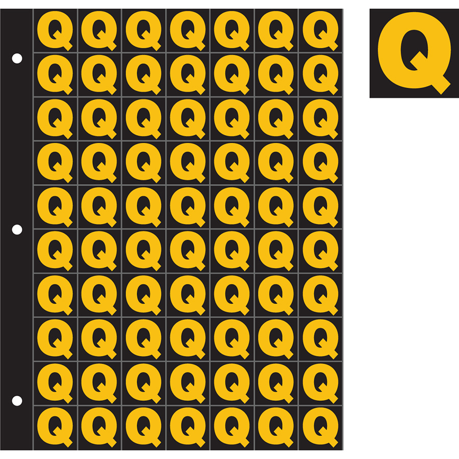 "1"" Yellow on Black Engineer Grade Reflective ""Q"""