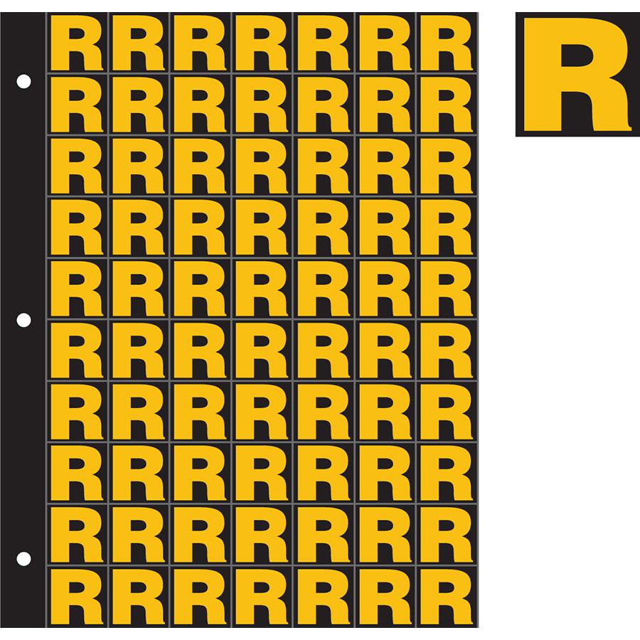 "1"" Yellow on Black Engineer Grade Reflective ""R"""