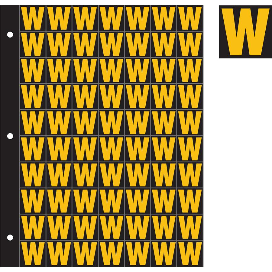 "1"" Yellow on Black Engineer Grade Reflective ""W"""