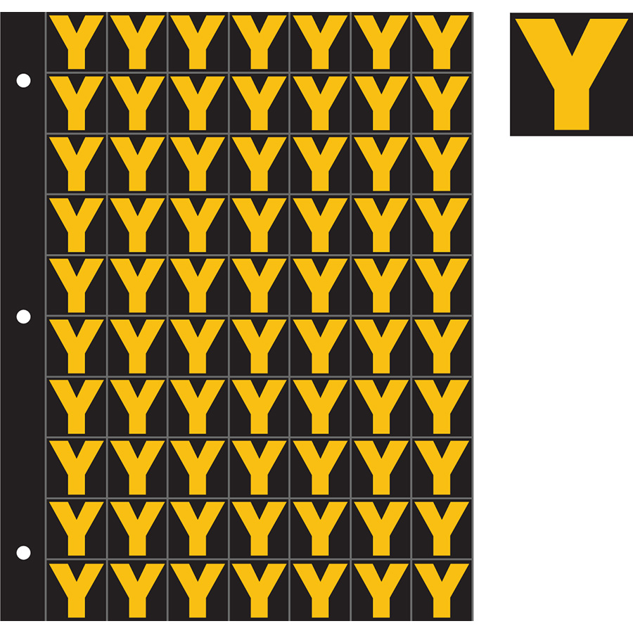"1"" Yellow on Black Engineer Grade Reflective ""Y"""