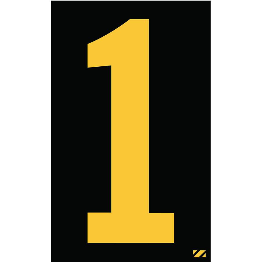 "2.5"" Yellow on Black Engineer Grade Reflective ""1"""