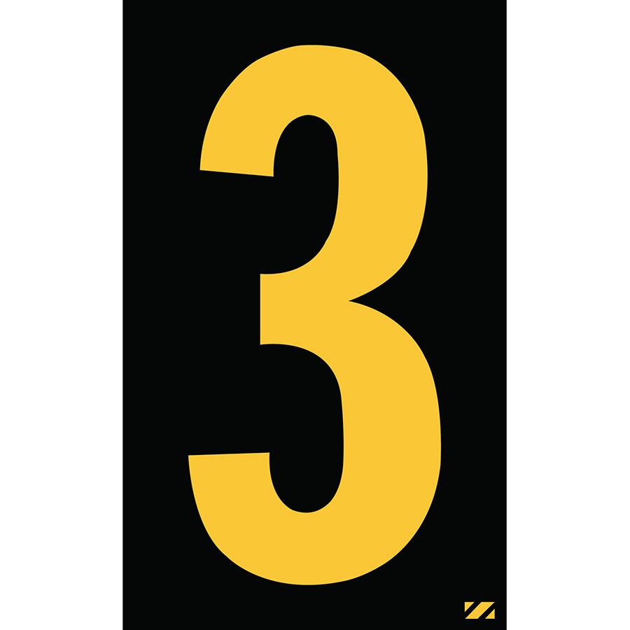 "2.5"" Yellow on Black Engineer Grade Reflective ""3"""