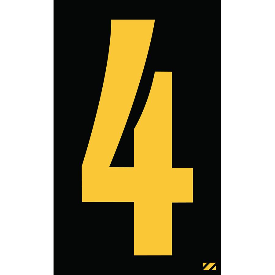 "2"" Yellow on Black Engineer Grade Reflective ""4"""