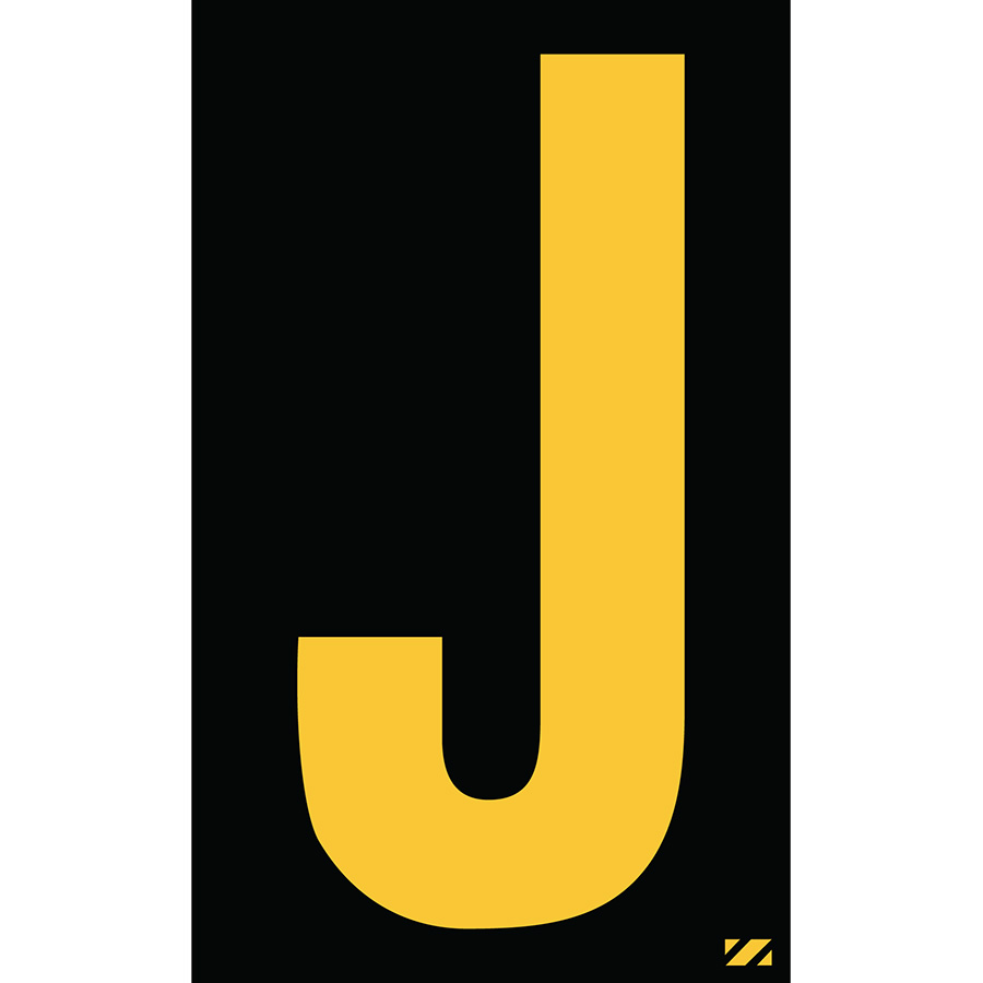 "2"" Yellow on Black Engineer Grade Reflective ""J"""